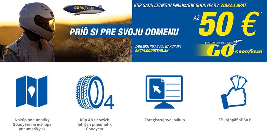 Nakúp pneumatiky u vybraných prodajcov - Kúp 4 ks nových letných pneumatík Goodyear - Zaregistruj svoj nákup - Získaj späť až 50 €